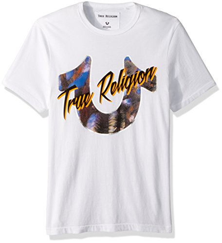 True Religion Men's Dessert Horseshoe Tee, Optic White, M