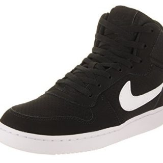 NIKE Men's Court Borough Mid High-Top Synthetic Fashion Sneaker Black/White 12 D(M) US