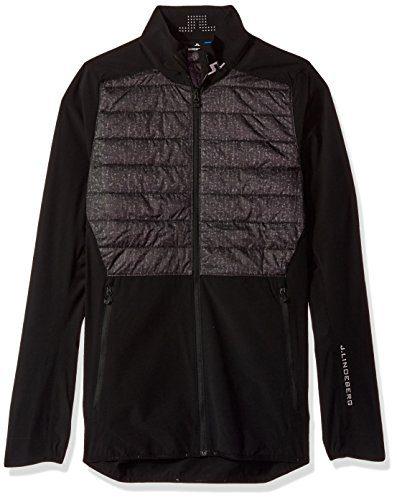 J.Lindeberg Men's Insulated Hybrid Jacket, Black Wave Print, XL