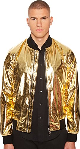 Versace Collection Men's Shiny Gold Bomber Gold 48