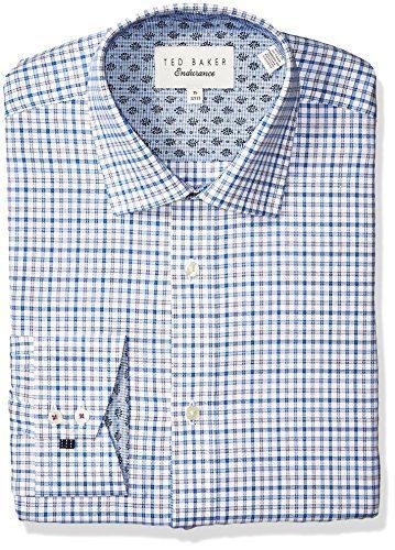 """Ted Baker Men's Welsh Slim Fit Dress Shirt, Blue, 17"""" Neck 34-35"""" Sleeve"""