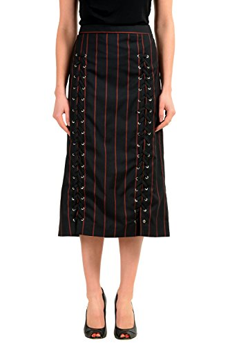 Versace Versus 100% Wool Black Striped Women's Pencil Skirt US XS IT 38