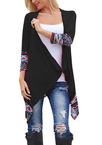 Relipop Women Winter Long Sleeve Irregular Printing Stitching Cardigan Jacket (X-Large, Black)