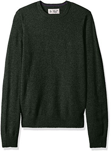 Original Penguin Men's Solid Lambswool Crew Sweater, Forest Night, Large
