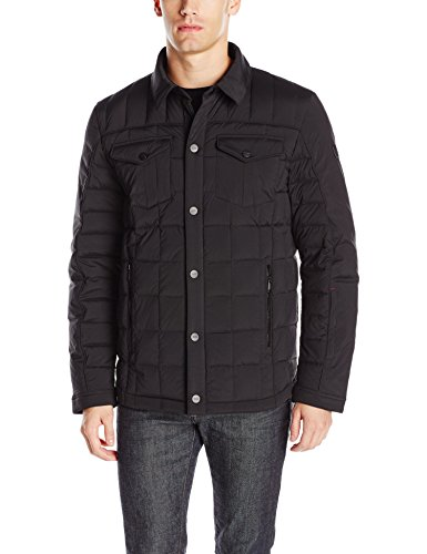 Tumi Men's Helium Stretch Shirt Jacket, Black, Large