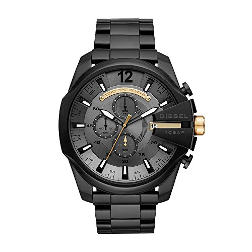 Diesel Men's 'Mega Chief' Quartz Stainless Steel Casual Watch, Color:Black (Model: DZ4479)