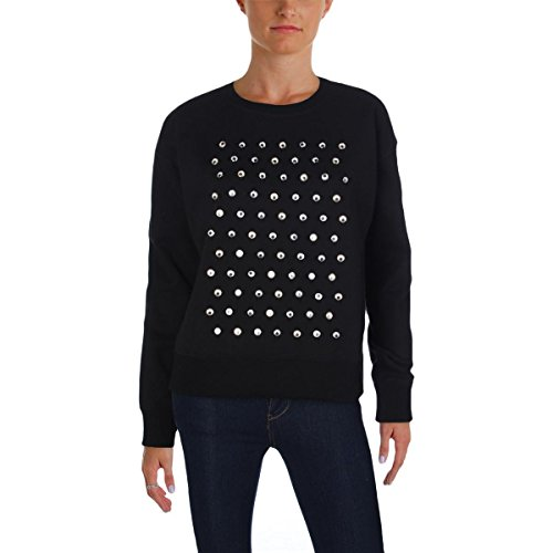 Marc by Marc Jacobs Womens Embellished Ribbed Trim Sweatshirt Black S