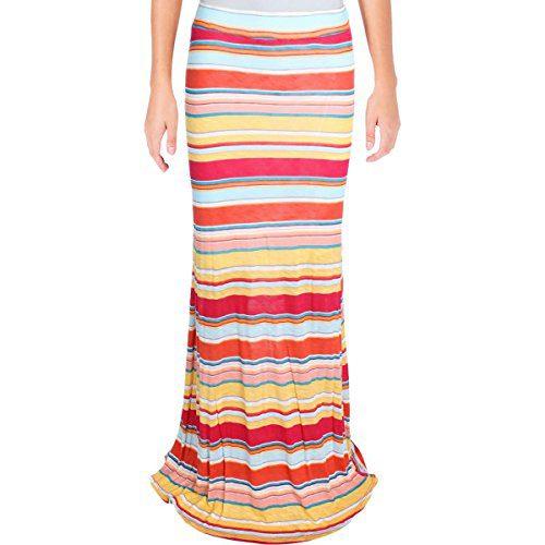 Michael Stars Womens Slub Convertible Maxi Skirt Multi S