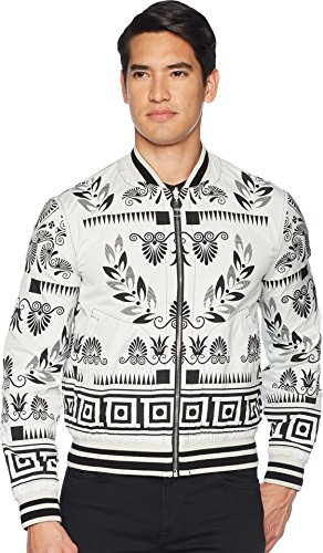 Versace Collection Men's Reversible Floral Print Bomber White/Black 54