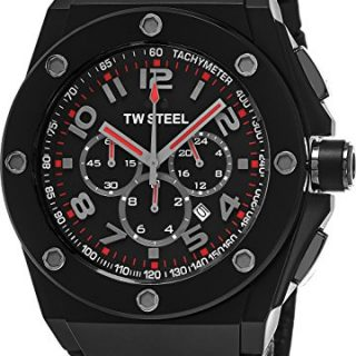 TW Steel CEO Tech Large Round Stainless Steel Black Watch - Black Dial Date 24-hour TW Steel Watch Mens - Black Leather Band 48mm Chronograph Watch CE4009