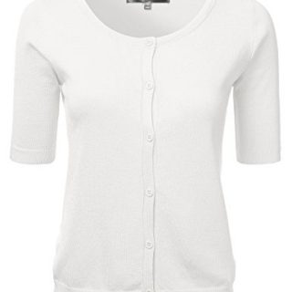 FLORIA Womens Button Down Fitted Short Sleeve Fine Knit Top Cardigan Sweater Ivory L