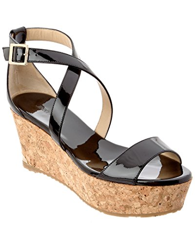JIMMY CHOO Portia 70 Patent Cork Wedge Sandal, 37