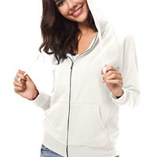 Urban CoCo Women's Full Zip-up Hooded Sweatshirt Long Sleeve Casual Hoodie Jacket (L, Ivory)