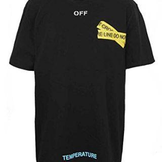 CraveLook Men's Fire Line Do Not Cross Short Sleeve T-Shirt Streetwear (Black)