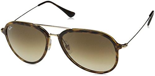Ray-Ban Plastic Unisex Aviator Sunglasses, Light Havana, 57 mm