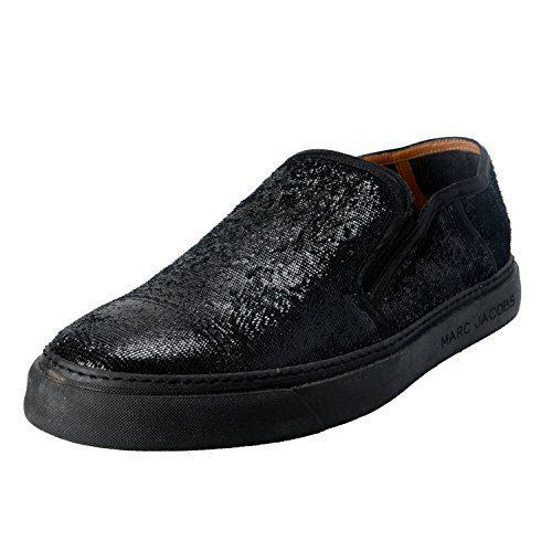 Marc Jacobs Men's Black Sparkle Leather Loafers Slip On Shoes US 10 IT 9 EU 43