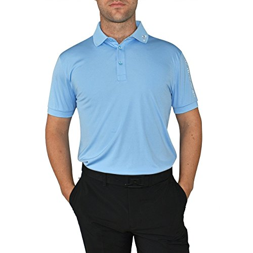 J.Lindeberg Men's Tour Tech Tx Jersey Polo Shirt, Gentle Blue, Large