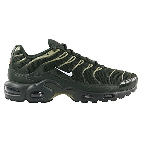 NIKE Men's Air Max Plus, Sequoia/White-Neutral Olive, 10 M US