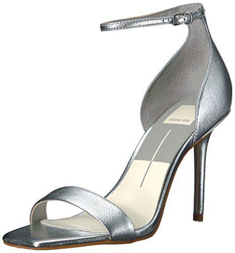 Dolce Vita Women's Halo Heeled Sandal, Silver Leather, 10 Medium US