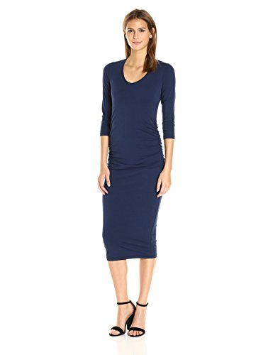 Michael Stars Women's Cotton Lycra 3/4 Sleeve Ruched Midi Dress, Nocturnal, M