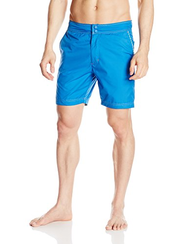Robert Graham Men's Fiji Swim Trunk, Blue, 38