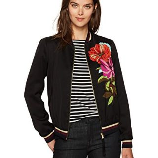 Trina Turk Women's Adriano Dahlia Dell Placed Print Bomber Jacket, Black, L