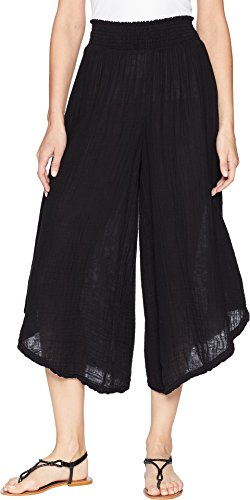Michael Stars Women's Double Gauze Cropped Wide Leg Pants Black Large