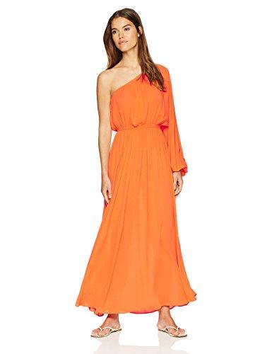Mara Hoffman Women's Vera One Shoulder Maxi Cover up Dress, Orange, X-Small