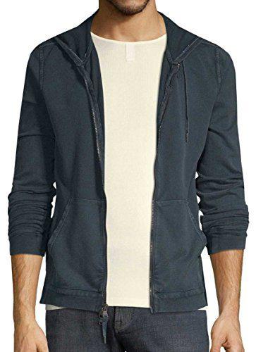 John Varvatos Men's Zip Front Cotton Hoodie X-Large Lake Blue
