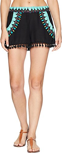 Trina Turk Women's Sunburst Tassel Shorts Cover-up Black Small