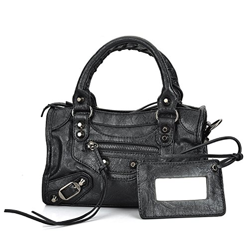 Gold-Tech Women Leather Black Studed Mini Motorcycle Bags Tassel Shoulder Cross-body Bags 8 Colors