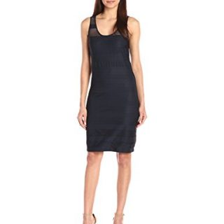 A|X Armani Exchange Women's Sheer Detail Sleeveless Dress, Navy, Medium