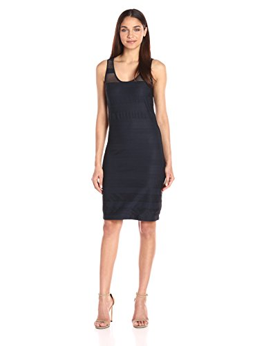 A|X Armani Exchange Women's Sheer Detail Sleeveless Dress, Navy, Medium
