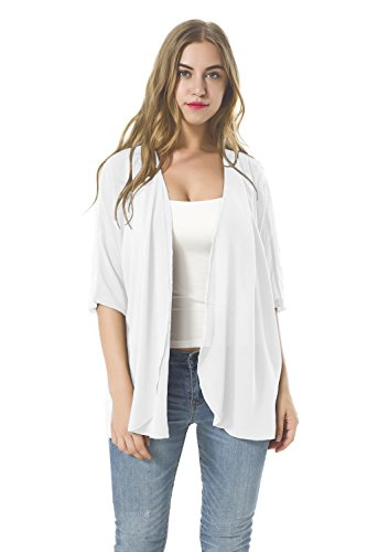 Women's Chiffon Loose Casual Long Sleeved Blouse Comfortable Breathable Thin Cardigan Sweater (XL, White1)