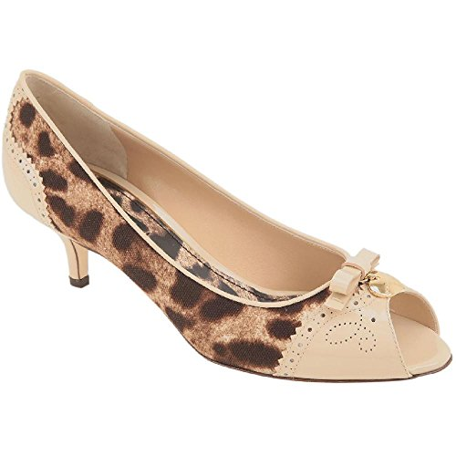 Dolce & Gabbana Women's Beige Leather Fabric Pumps Open Toe Shoes - Size: 38 EU