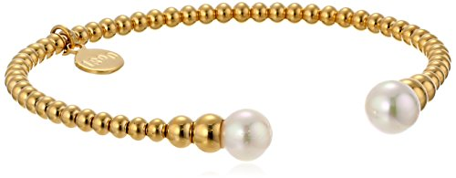 Majorica Faux Pearl and Gold-Tone Stainless Steel Bead Cuff Bracelet