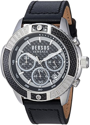 Versus by Versace Men's 'Admiralty' Quartz Stainless Steel and Leather Casual Watch, Color: Beige