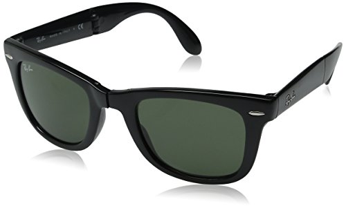 Ray-Ban Men's Folding Wayfarer Square Sunglasses, Black & Crystal Green, 50 mm