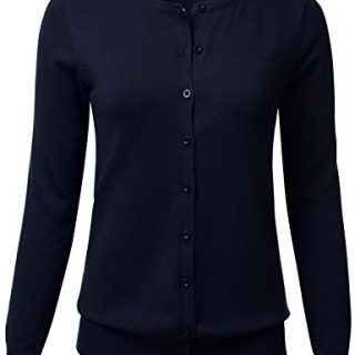 FLORIA Women Button Down Crew Neck Long Sleeve Soft Knit Cardigan Sweater Navy L