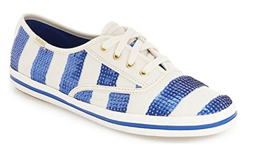 Kate Spade New York Ked's Kicks Nautical Sequin Stripe Cobalt Blue White Sneakers (7.5)