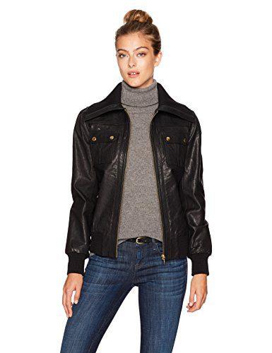 Trina Turk Women's La Cienega Leather Jacket, Black, XS