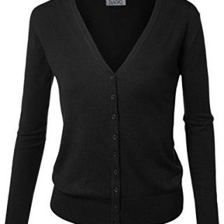 BIADANI Women Button Down Long Sleeve Soft V-Neck Cardigan Sweater Black Large