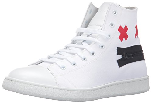 Marc Jacobs Men's Canvas Zip Face Fashion Sneaker, White, 41 EU/7 M US