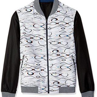 Robert Graham Men's Sharpy Woven Bomber Jacket, Blue, XLarge