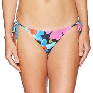 Mara Hoffman Women's Lei String Bikini Bottom Swimsuit, Samba Black Blue, Medium