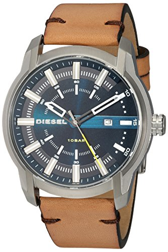 Diesel Men's Armbar Stainless Steel and Leather Casual Watch, Color: Silver-Tone, Brown (Model: DZ1847)
