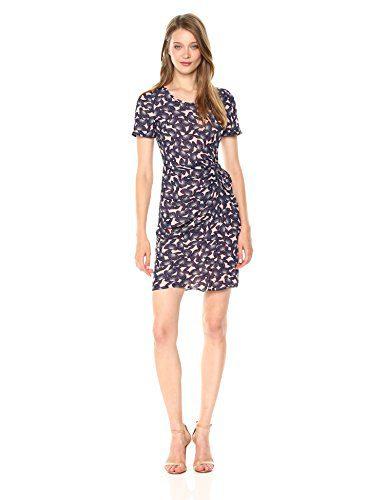 A X Armani Exchange Women's Sheer Printed Short Sleeve Dress, Pink Mushroom Flower, 12