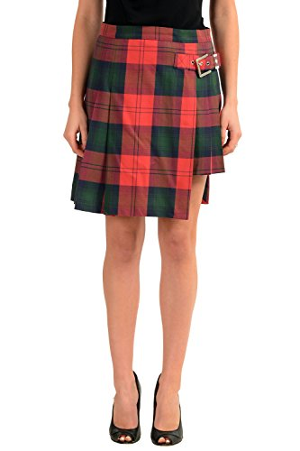 Versace Versus Multi-Color Checkered Women's Pleated Skirt US M IT 42