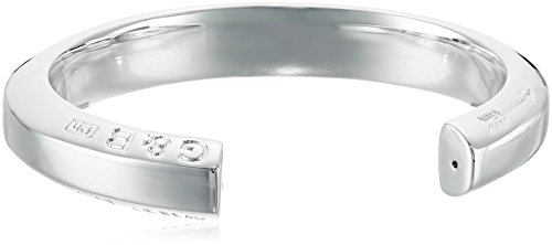 Giles and Brother Polished Hex Cuff Bracelet in Silver-Finished Brass
