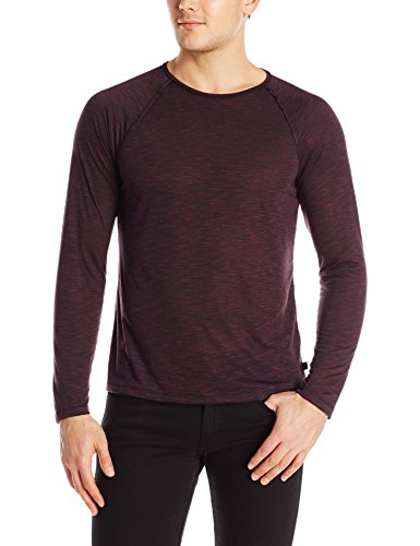 John Varvatos Star USA Men's Long Sleeve Crew, Cherry Wood, X-Large